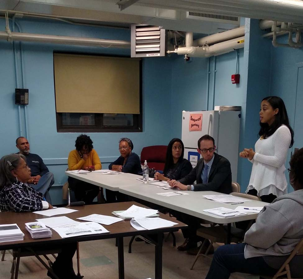 Assemblywoman Latoya Joyner joined the Residents Association of NYCHA Sedgwick Houses in order to discuss the importance of understanding succession rights for all families.