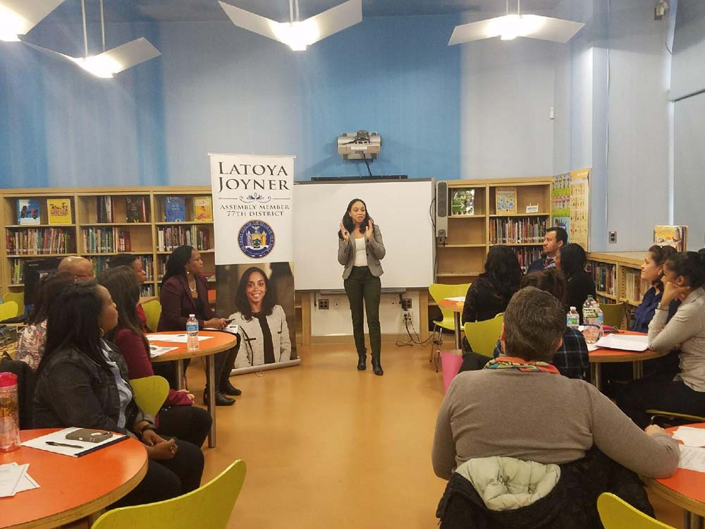 Assemblywoman Latoya Joyner hosted a breakfast with District 9 principals, the New York City Department of Education, and the NYC Department of Homeless Services to hear feedback regarding how new programs for students and families living in transitional housing are working.<br />
