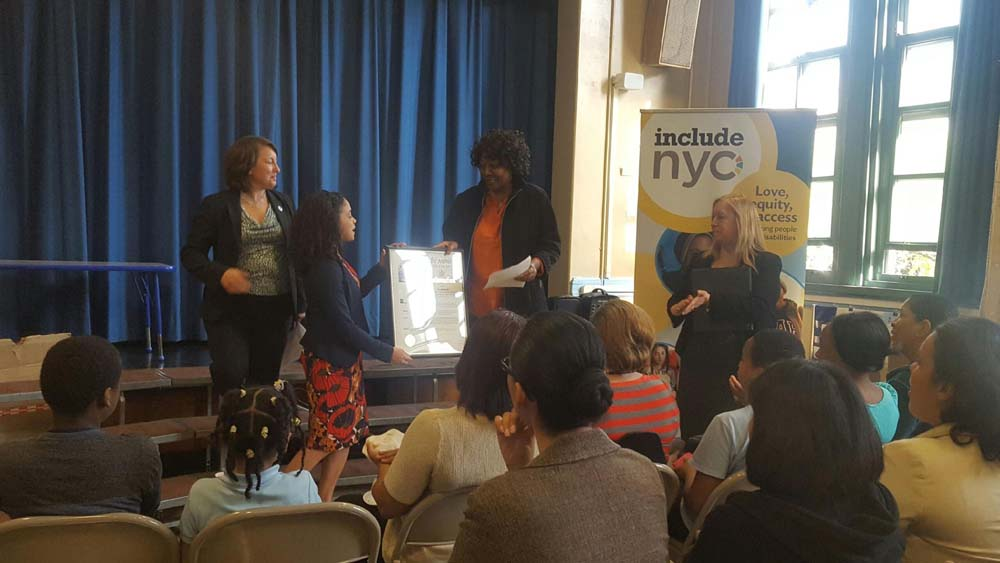 Assemblywoman Latoya Joyner, joined by includeNYC, honored parent leader Ms. Josephine Ofili for her hard work in advocating for Bronx children and their right for a quality education.