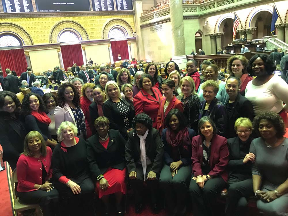 Assemblywoman Latoya Joyner with her colleagues during International Women's Day.