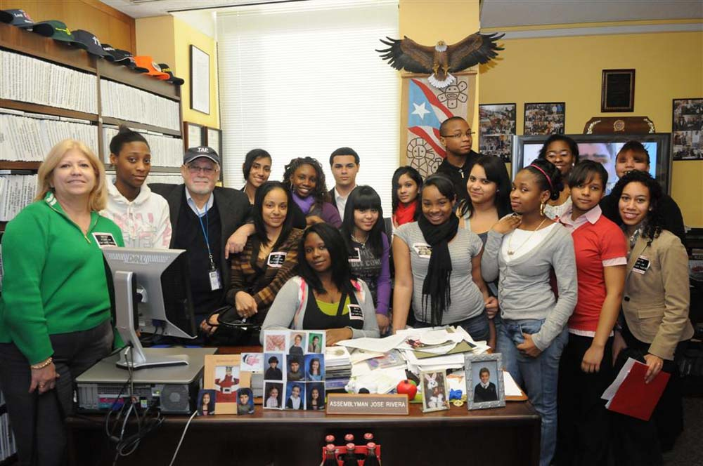 Assemblyman Jose Rivera with students from Fordham University in the Bronx<br />&nbsp;
