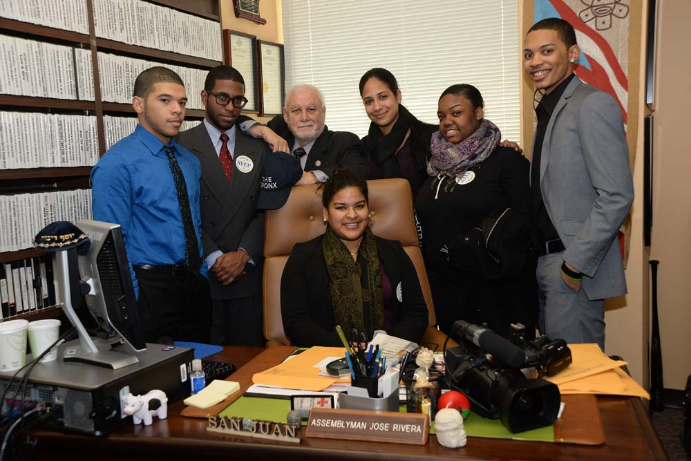 Mr. Rivera with the students who he supports from his district who attend Lehman College.<br />&nbsp;