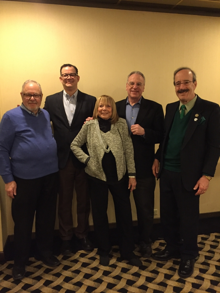 Len Daykin, Council Member Cohen, Judy Sonett, Assemblyman Dinowitz and Congressman Engel pictured at the Whitehall Sunday March 19th.<br />