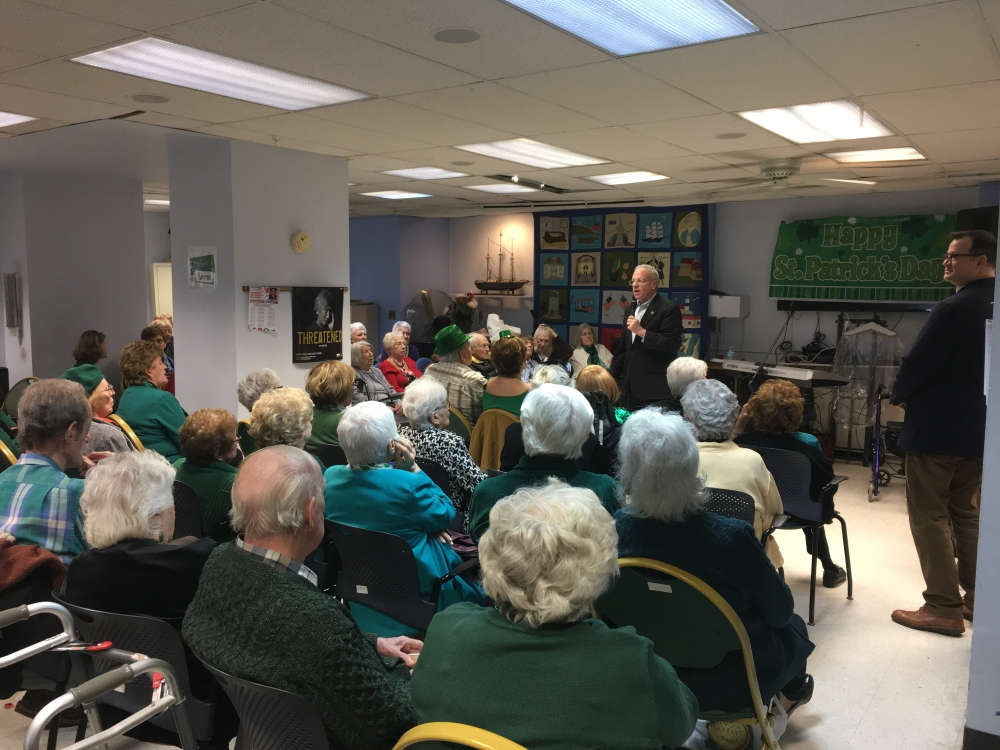 Assemblyman Dinowitz speaking at the Riverdale Senior Center on Saturday March 18th.<br />