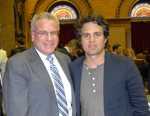 Assemblyman Jeffrey Dinowitz and actor Mark Ruffalo are shown here in the Assembly Chamber. Ruffalo is a leading opponent of hydrofracking. Assemblyman Dinowitz is a co-sponsor of a bill to limit this environmentally damaging procedure.