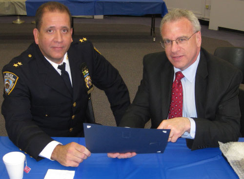 Assemblyman Jeffrey Dinowitz met with Chief Carlos Gomez, Commanding Officer, Patrol Borough Bronx, and discussed crime and safety issues in the 81st assembly district.