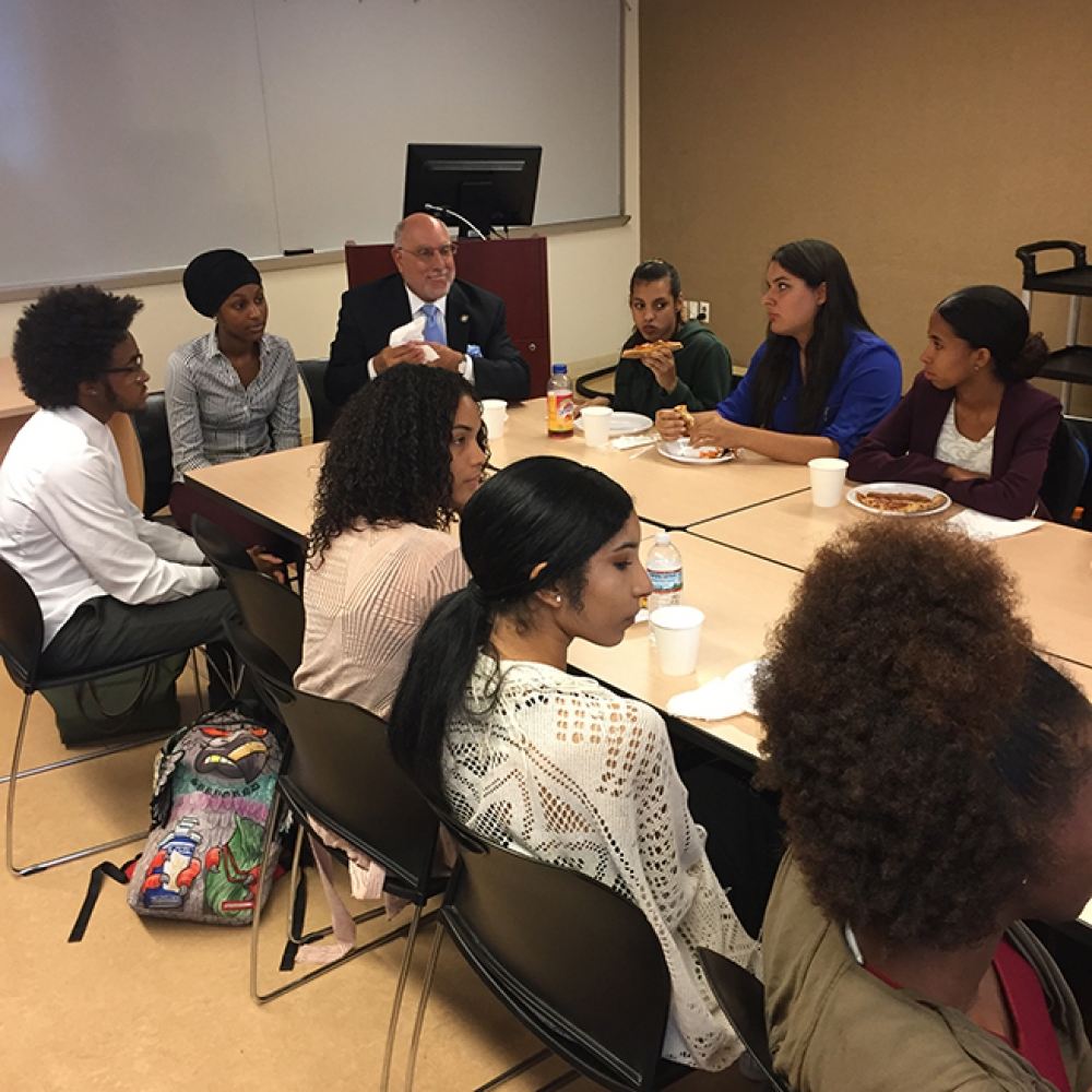 Assemblyman Michael Benedetto meets with students of Mercy College to discuss college accessibility, college courses, financial aid and student assistance as well as the importance of furthering education for their futures.<br />&nbsp;