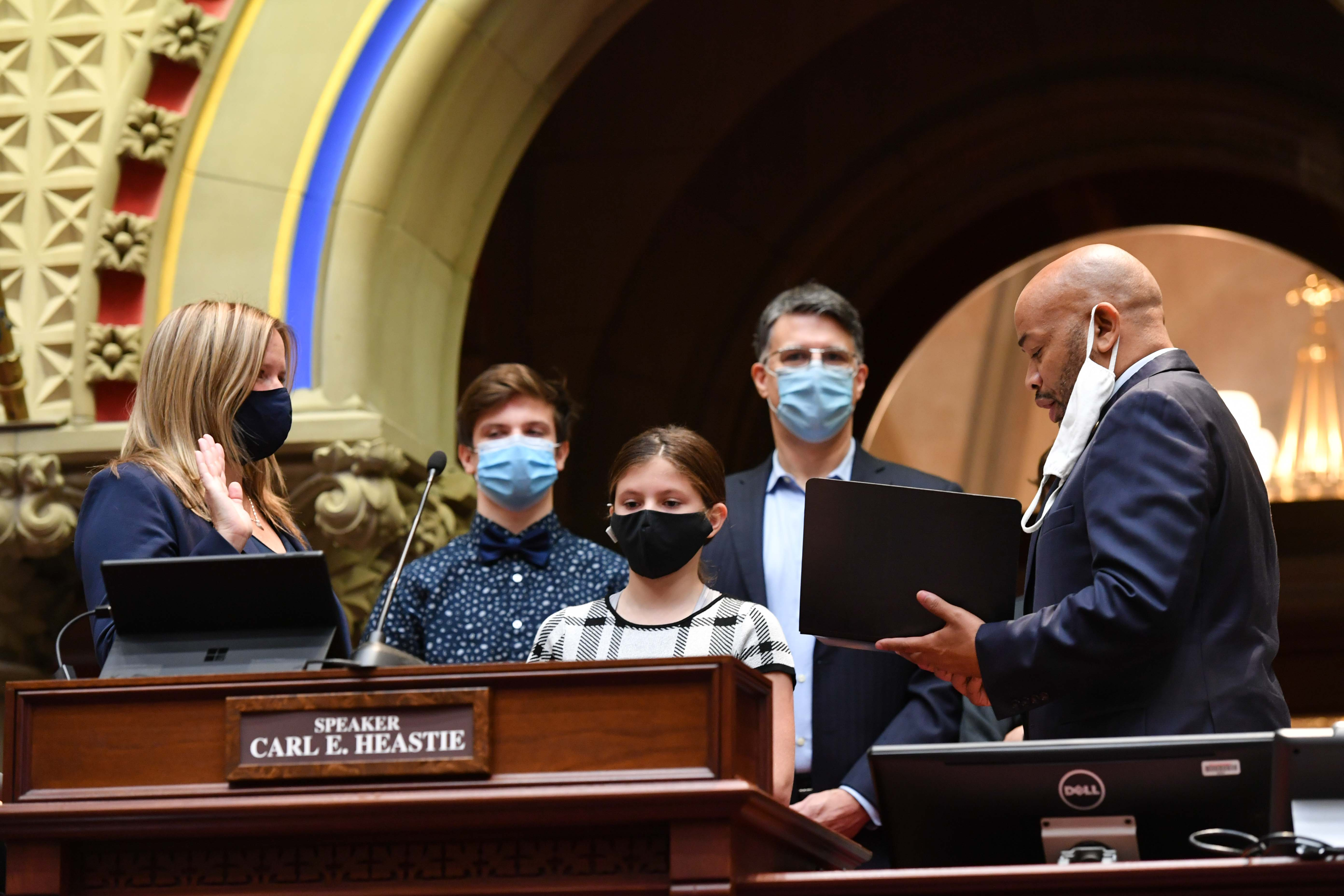 Speaker Carl Heastie swears in new Assemblymember Sarah Clark to represent the 136th AD