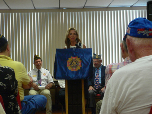 Assemblywoman Paulin speaks to local Cold War veterans about her bill that increases benefits to Cold War veterans.