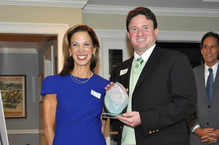 Amy Paulin receiving an honor for her work on behalf of conservationists from FCWC president Jason Klein at Sleepy Hollow Country Club