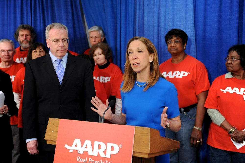 Amy Paulin makes a point during her AARP press event.