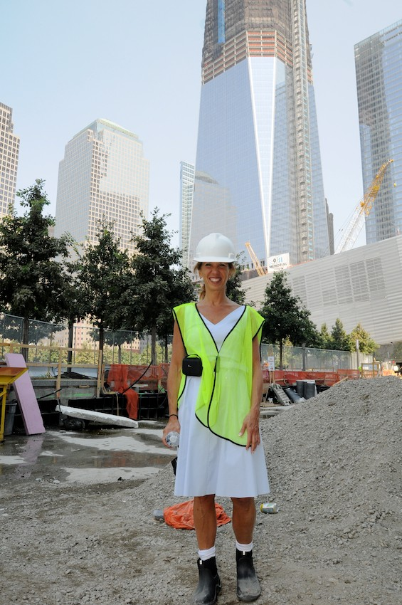 Amy Paulin at the 9/11 Memorial construction site.
