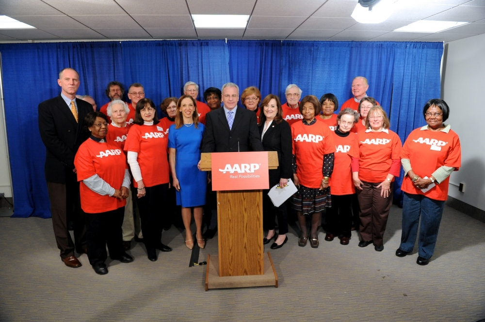 Assemblywoman Paulin participates in a press conference with the AARP.