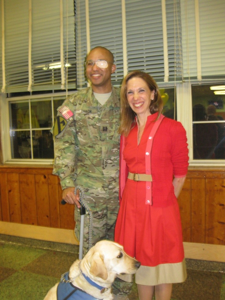 At the Tuckahoe-Eastchester Lions Club Pasta night.  Amy met Captain James Van Thach and his companion dog, Liz.