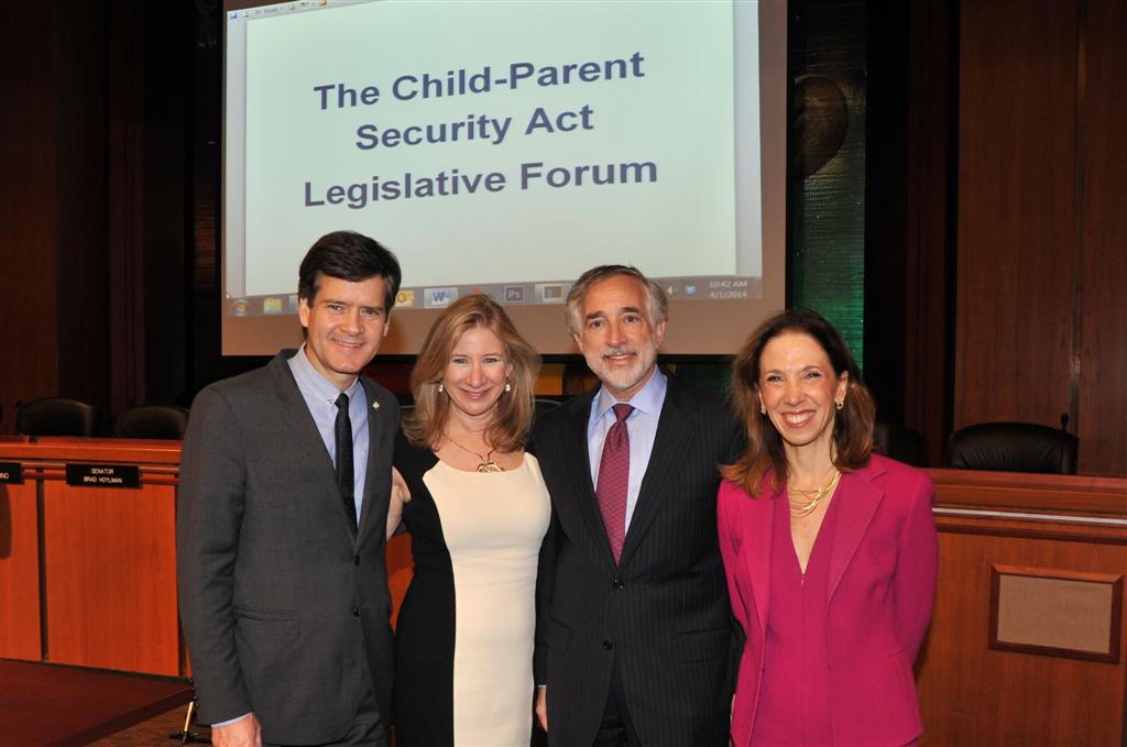 Senator Brad Hoylman, Risa Levine of RESOLVE, and Dr. Richard Grazi from GENESIS Fertility & Reproductive Medicine pose with Assemblywoman Paulin after a public forum on the Child-Parent Security Act.