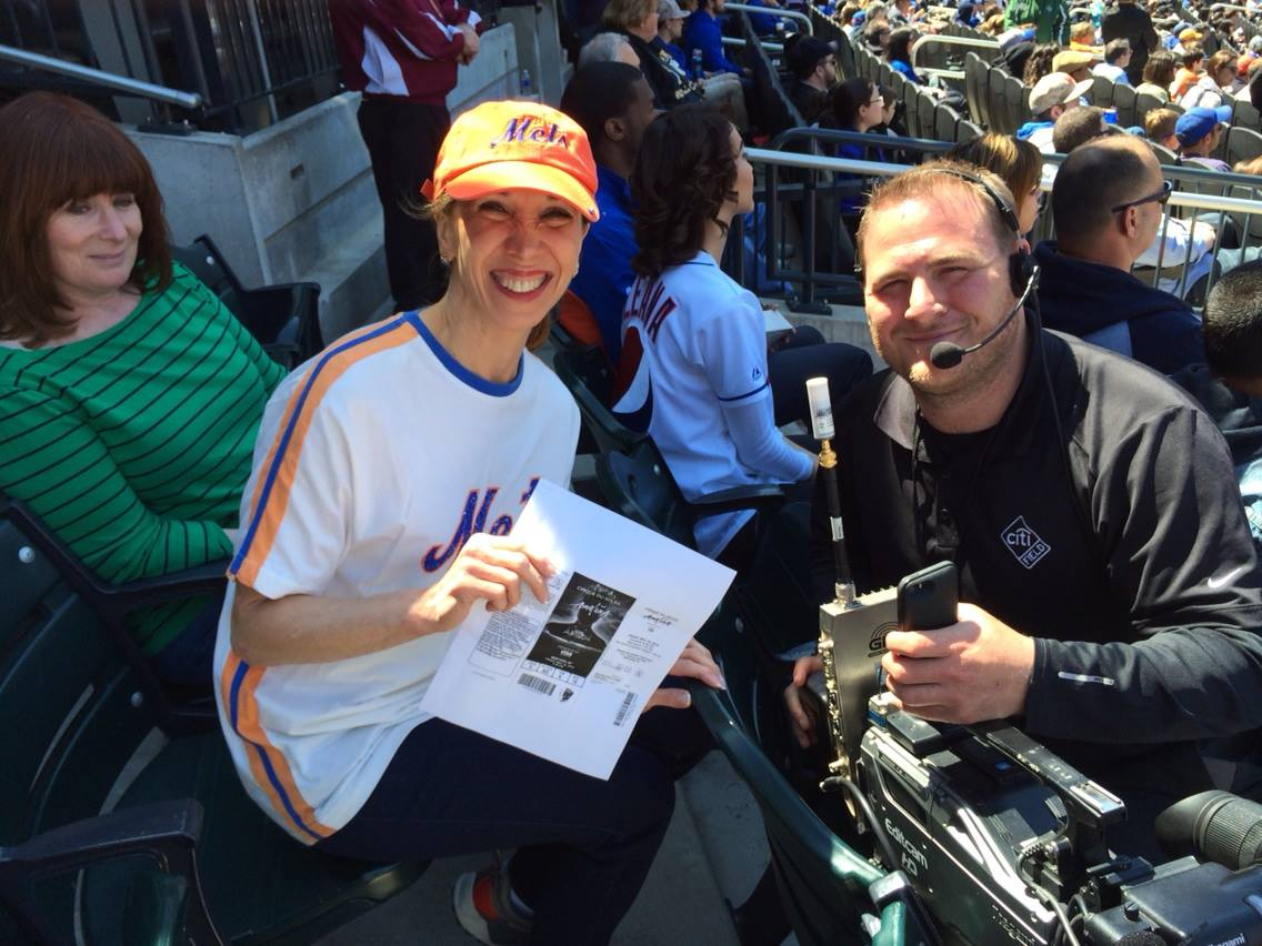 Assemblywoman Amy Paulin attended the April 20 Mets game against Atlanta at Citi Field and won tickets for Cirque du Soleil. She was presented with her tickets and made an appearance on the scoreboard video screen.