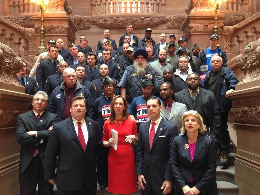 "Amy Paulin was one of 70 assembly members and 35 senators who advocated for the bill that would amend the veteran's pension buyback program [<a href=""/leg/?bn=A6974&term=2013"" target=""blank"">A6974</a>/<a href=""/leg/?bn=S4714&term=2013"" target=""blank"">S4714</a>] in an April 29 press conference on the Million-Dollar Steps."