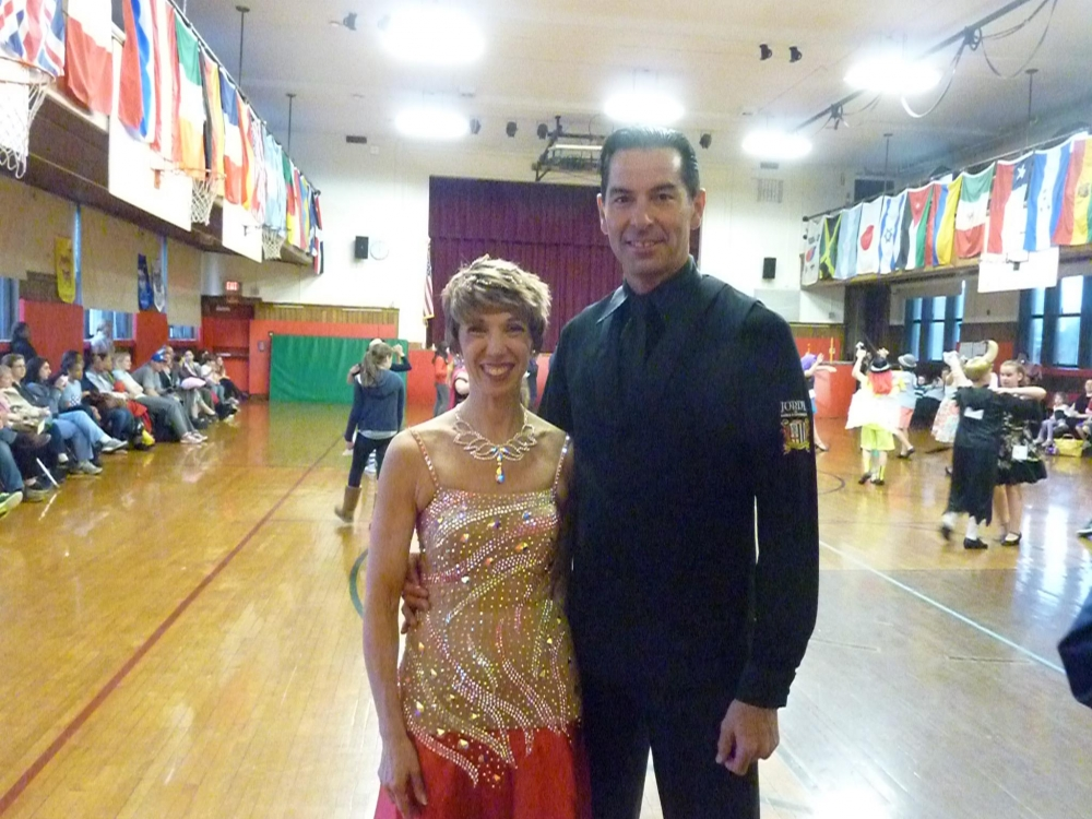 Amy Paulin danced at the Hutchinson School in Pelham with her dance partner/instructor Clive Phillips. It was a fundraiser for the Dancing Classrooms program.
