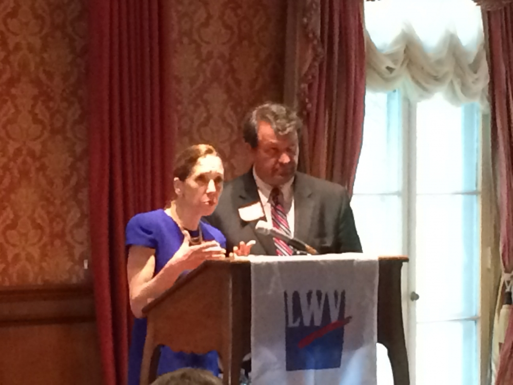 Assemblywoman Amy Paulin spoke at the League of Women Voters Annual Luncheon on June 5 along with State Senator George Latimer.