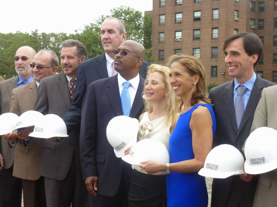 Assemblywoman Amy Paulin was at the Heritage Homes affordable housing development groundbreaking in New Rochelle. Here she is with the project developer Rella Fogliano on her right and New Rochelle mayor Noam Bramson on her left.