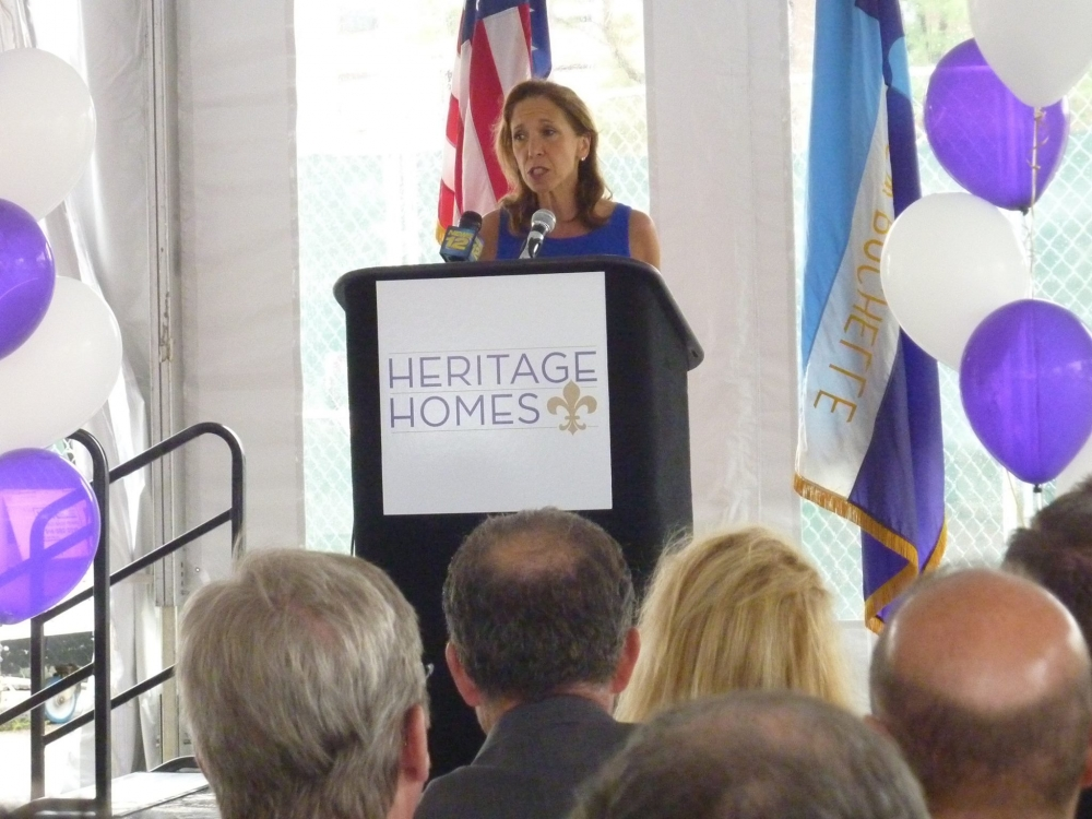 Assemblywoman Amy Paulin speaks prior to the Heritage Hills groundbreaking in New Rochelle.