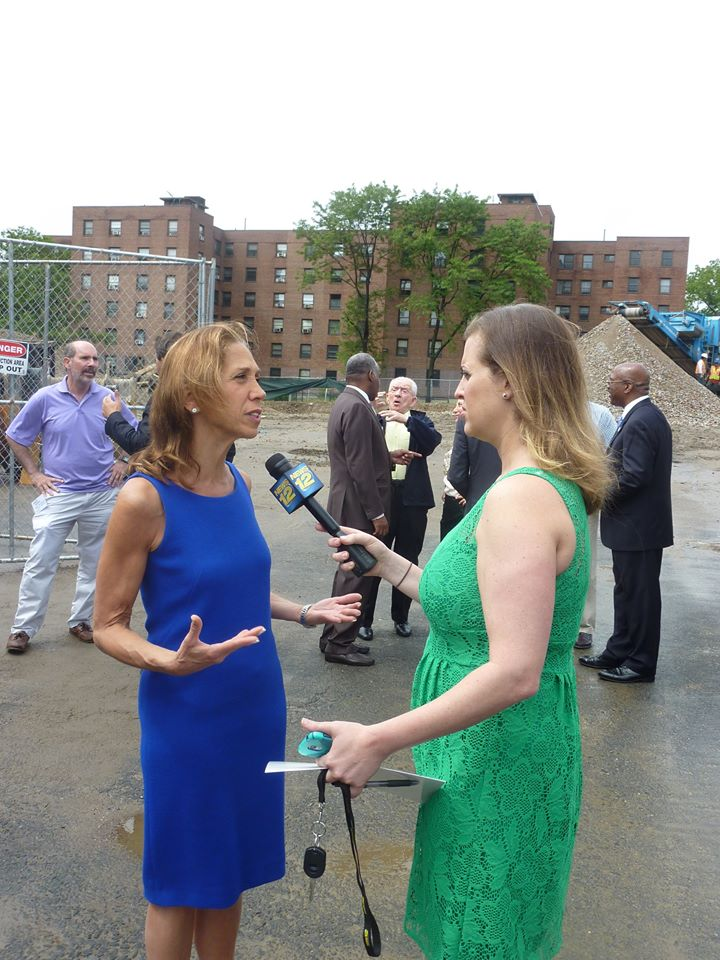 Assemblywoman Amy Paulin being interviewed by News12 at the Heritage Hills groundbreaking.