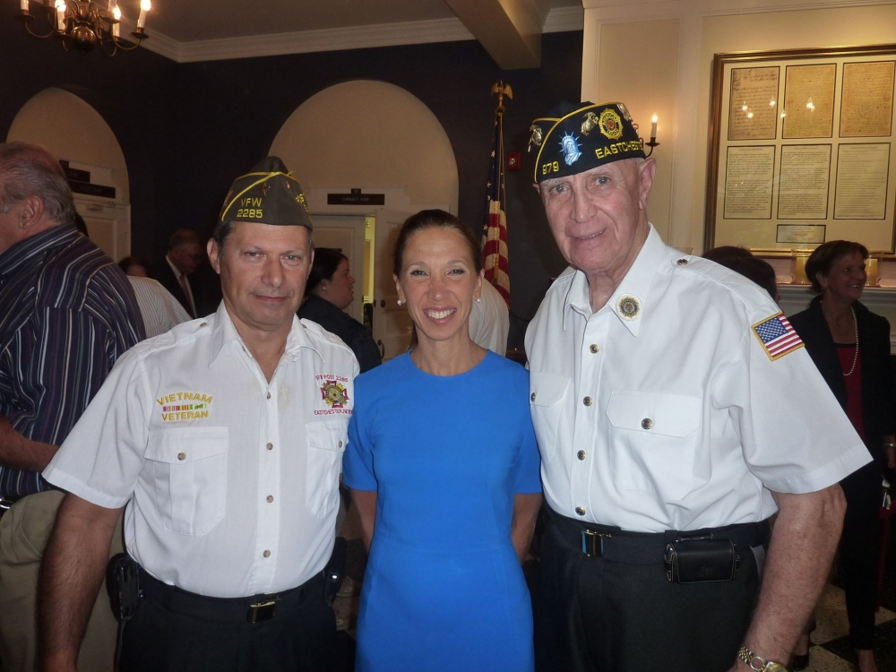 Assemblywoman Amy Paulin spending time with veterans at the Eastchester 9/11 Memorial Service.