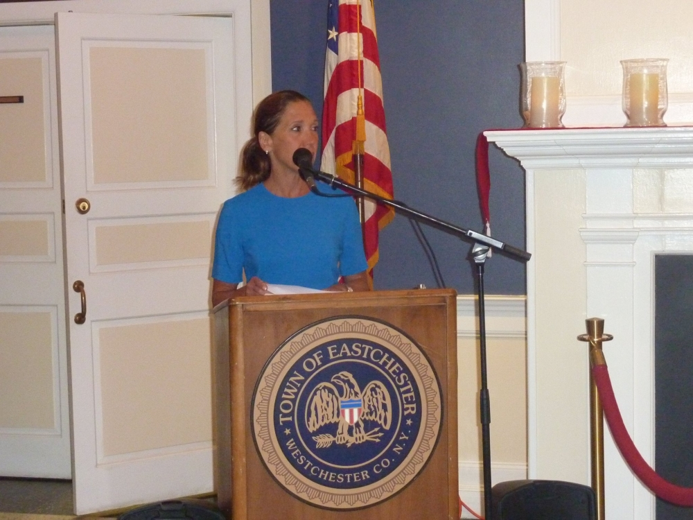 Assemblywoman Amy Paulin speaking at the Eastchester 9/11 Memorial Service.