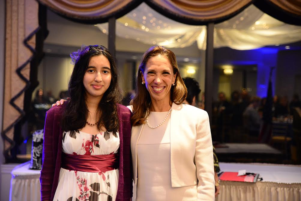 Amy Paulin with Rachel Hager at the Huguenot & New Rochelle Historical Association Awards Dinner.