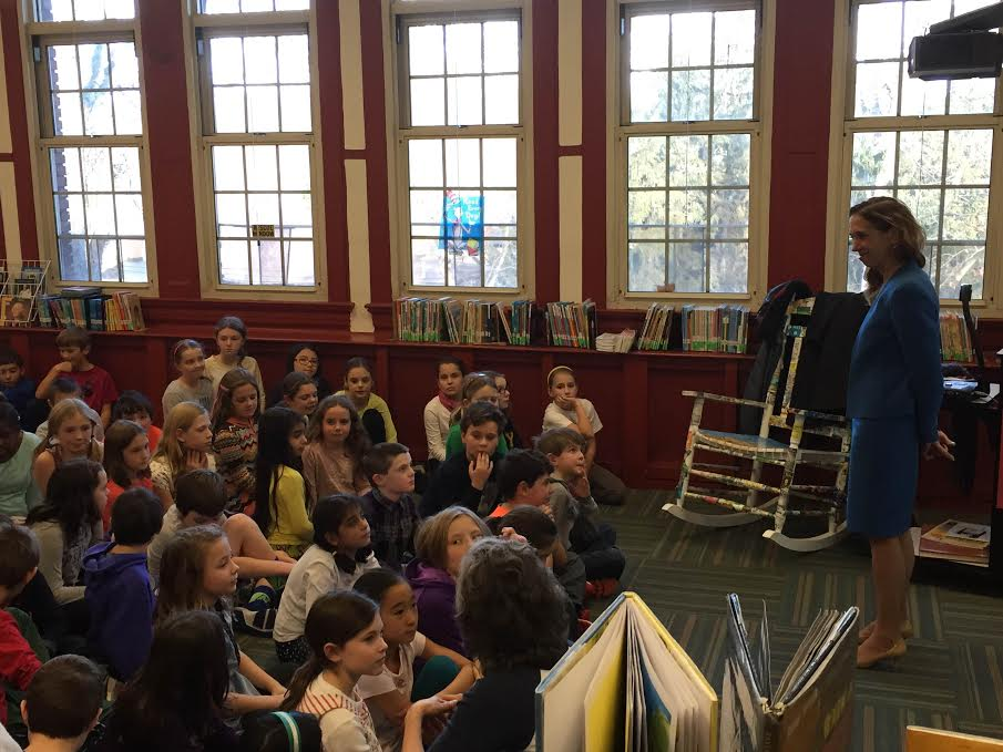 Amy Paulin spoke to the fourth and fifth graders at the Siwanoy School in Pelham on Dec. 12. They talked about how a bill becomes a law.