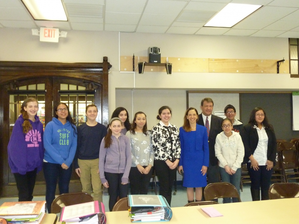 Amy Paulin recently visited the White Plains Middle School along with State Senator George Latimer to discuss state testing, teacher assessments and just to see how the kids are doing, what they are learning and how they are learning it.