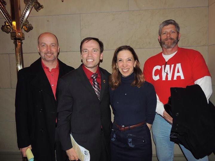 Amy Paulin with representatives of CWA Local 1103.
