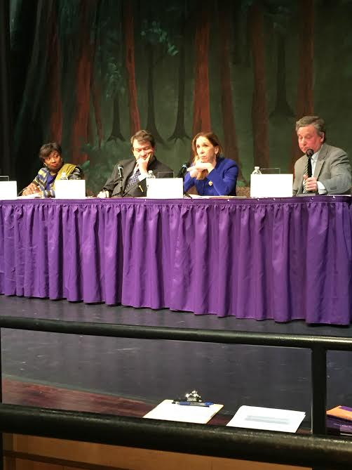 Assemblywoman Amy Paulin was at New Rochelle High on April 9 with Andrea Stewart-Cousins, George Latimer and Steve Otis to discuss the new state budget and its impact on education.