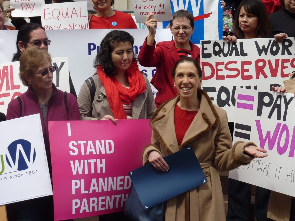Assemblywoman Paulin attended an April 14 rally for equal pay for women on the steps of White Plains City Hall.