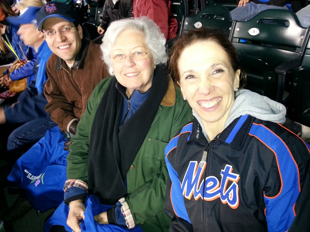 Amy was joined at the Mets game by Sandy Galef and David Buchwald. It was Harvey Day and the Mets won.