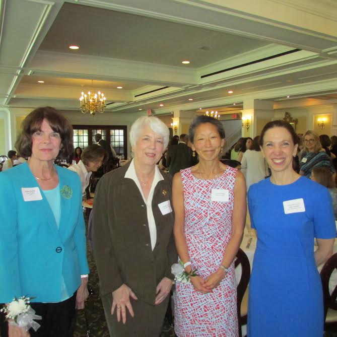 Amy Paulin at the Scarsdale League of Women Voters with Susie Rush, Linda Leavitt and Anne Janiak.