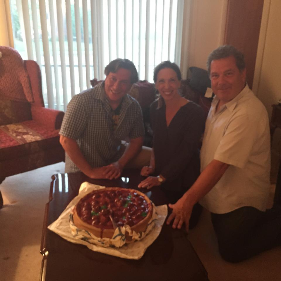 Assemblywoman Amy Paulin with Yonkers Mayor Michael Spano and Assemblyman Matt Titone and a masterpiece meatball cake at the fifth annual Meatball Palooza.