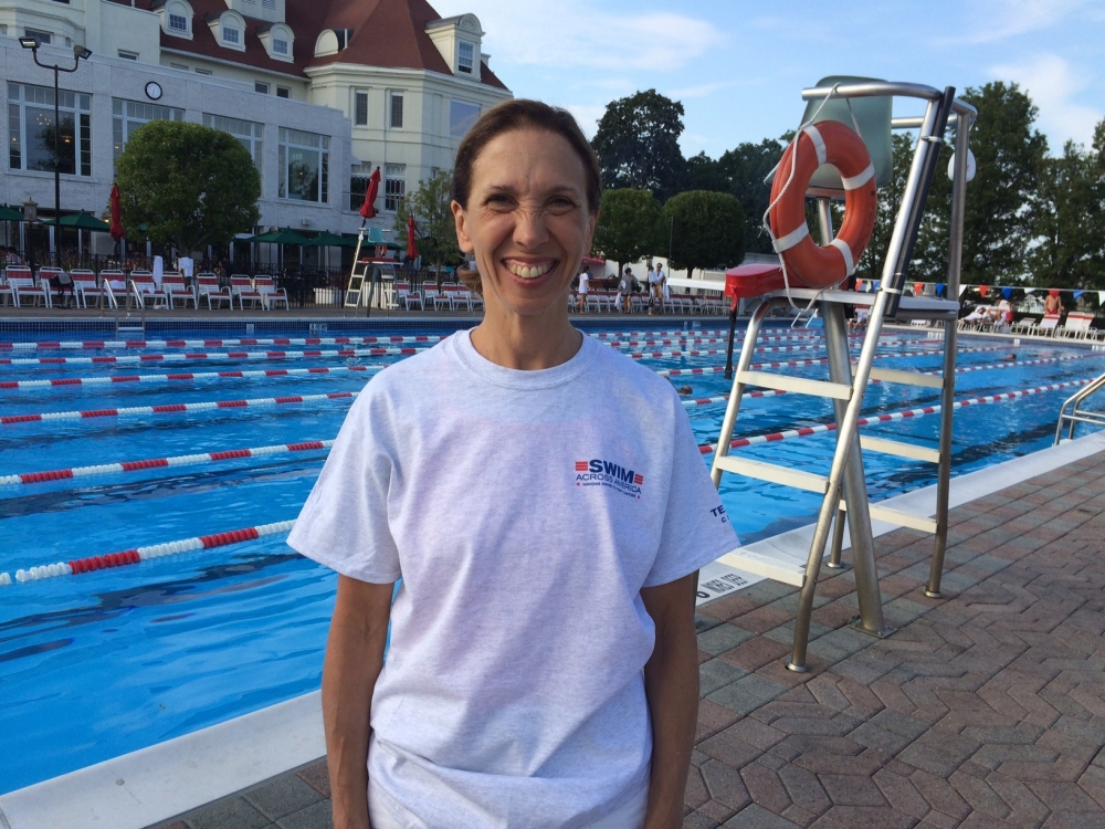 Assemblywoman Amy Paulin prepares to participate in Swim Across America in an effort to raise funds for cancer research.