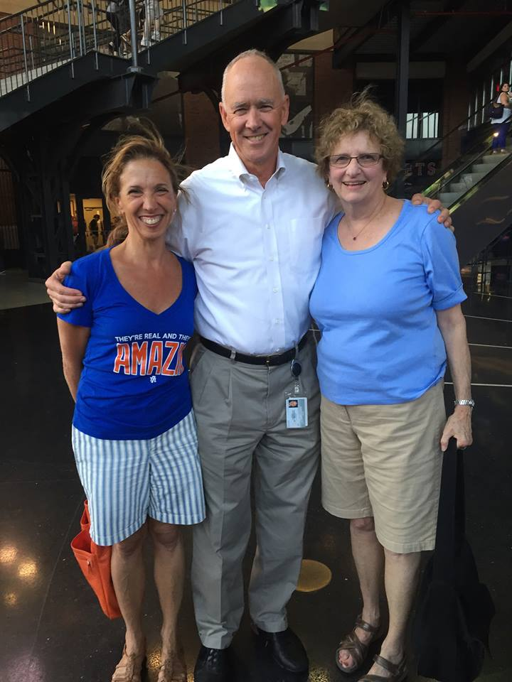 Assemblywoman Amy Paulin at a Mets game with staffer Barbara Jaffe and NY Mets general manager Sandy Alderson.