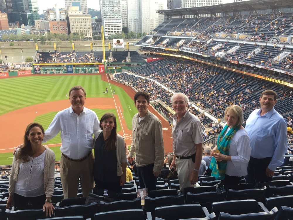 Assemblywoman Amy Paulin at PNC Park in Pittsburgh. Paulin was in Pittsburgh with colleagues for a conference as part of her duties as New York State Energy Chair and took an evening break to watch the Pirates play the Brewers.