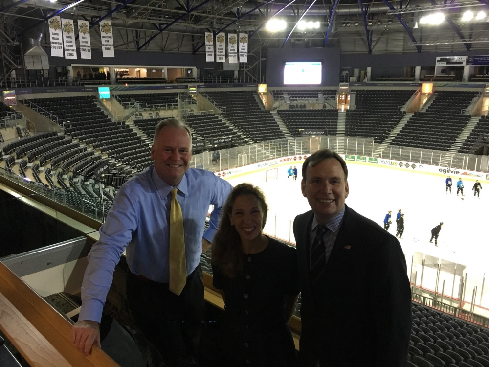 Assemblywoman Amy Paulin attended a practice session for the Belfast Giants at the SSE Arena with colleagues Michael Cusick and Mike Fitzpatrick.