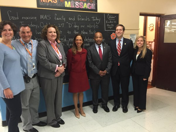 Assemblywoman Amy Paulin joined Assembly speaker Carl Heastie and Assemblyman David Buchwald at the Mamaroneck Avenue School in White Plains.