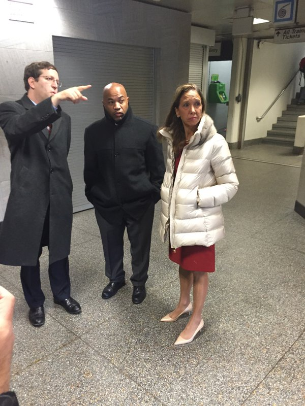 Assemblywoman Amy Paulin joined Assembly speaker Carl Heastie and Assemblyman David Buchwald in White Plains at the Metro-North Station.