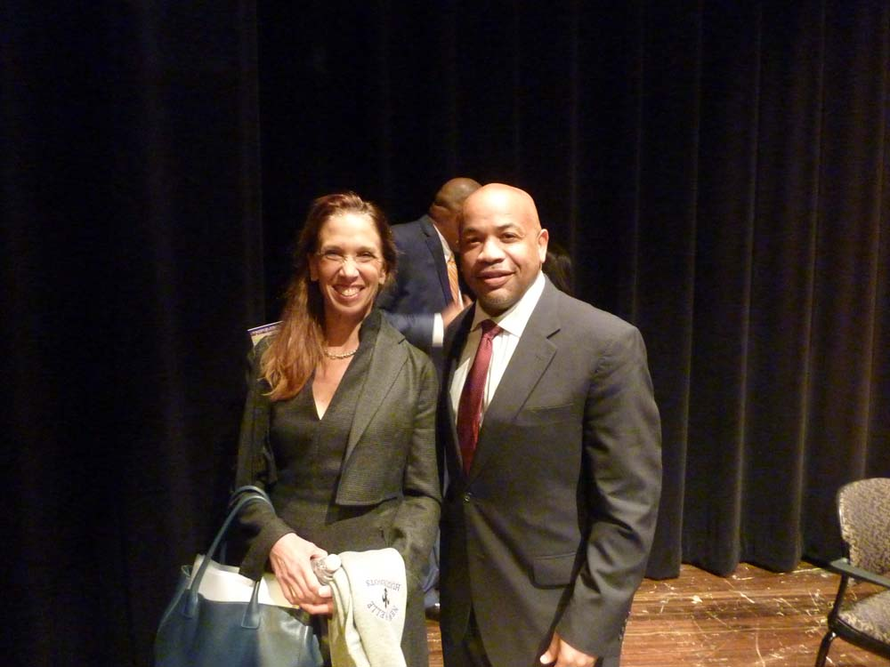 Assemblywoman Amy Paulin and Assembly Speaker Carl Heastie toured the 88th District, making several stops including one at New Rochelle High School.