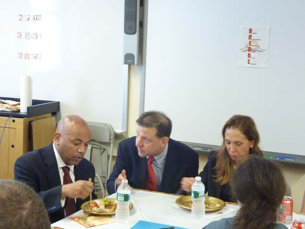 Assemblywoman Amy Paulin and Assembly Speaker Carl Heastie were joined by Westchester County Legislator Jim Maisano at Pelham High where they had lunch with students from the Bridges Academy.