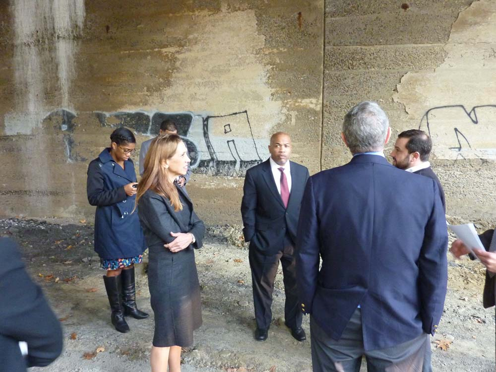 Assemblywoman Amy Paulin and Assembly Speaker Carl Heastie tour the Heathcote Bridge overpass in Scarsdale.