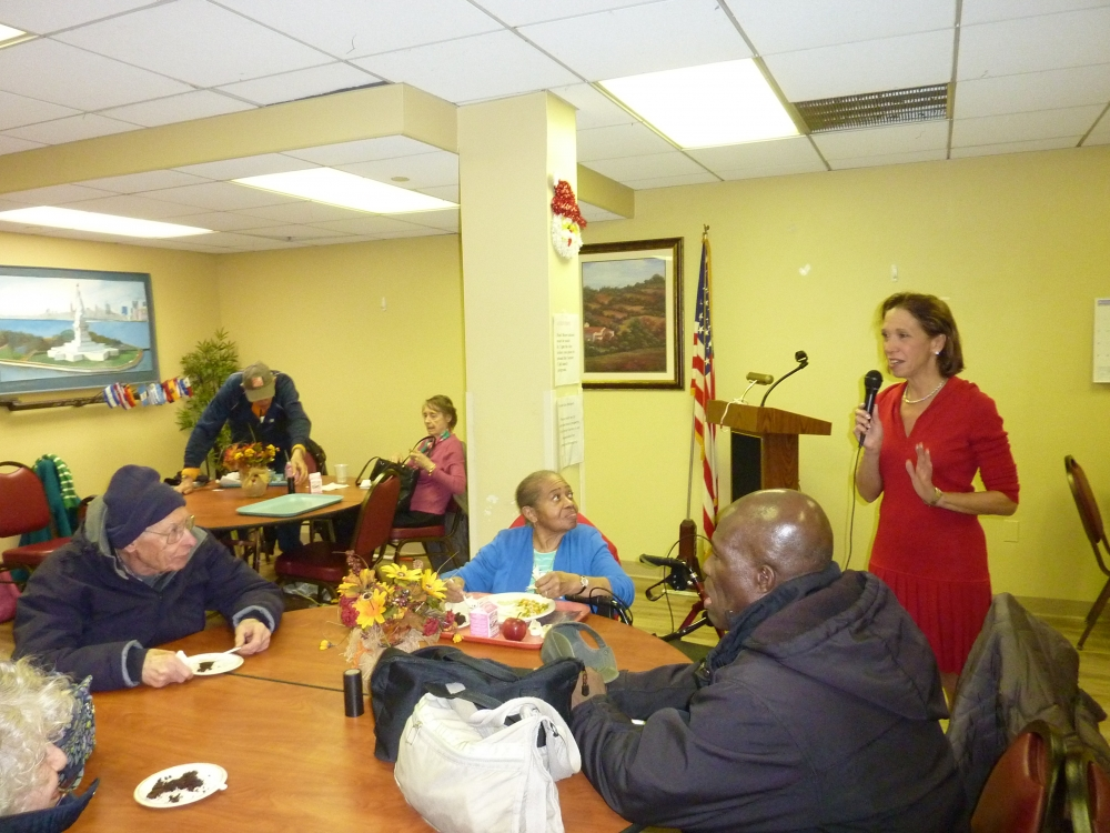 Assemblywoman Amy Paulin stopped by the Senior Center in White Plains for a visit and to give out holiday cookies.