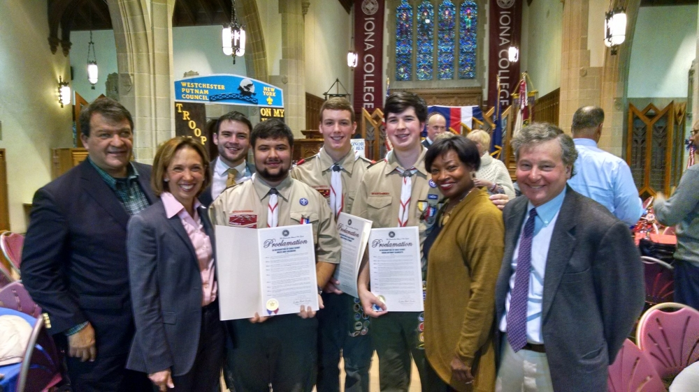 Assemblywoman Amy Paulin was joined by fellow Westchester-based legislators George Latimer, Steve Otis and Andrea Stewart-Cousins on Monday to honor the Troop 15 Eagles.