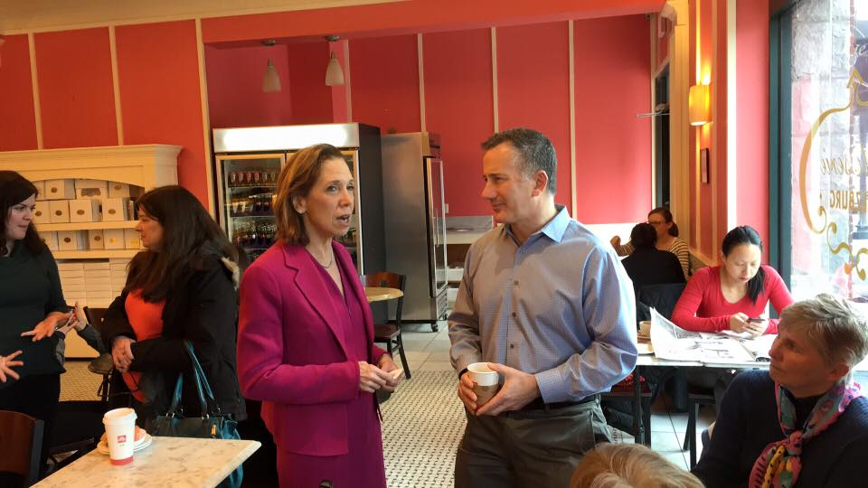 Assemblywoman Amy Paulin participated in a coffee chat hosted by the Journal News at Patisserie Salzburg in Scarsdale. Here she speaks with reporter Gary Stern.