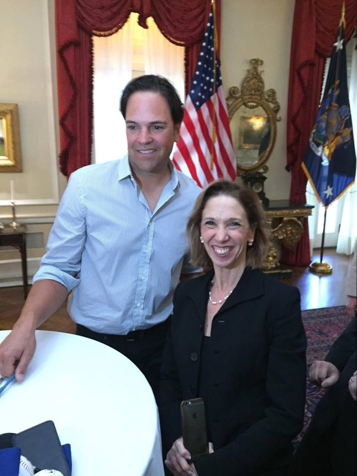 Hall-of-Fame catcher Mike Piazza visited with Assemblywoman Amy Paulin when he was recently honored by State legislators in Albany.